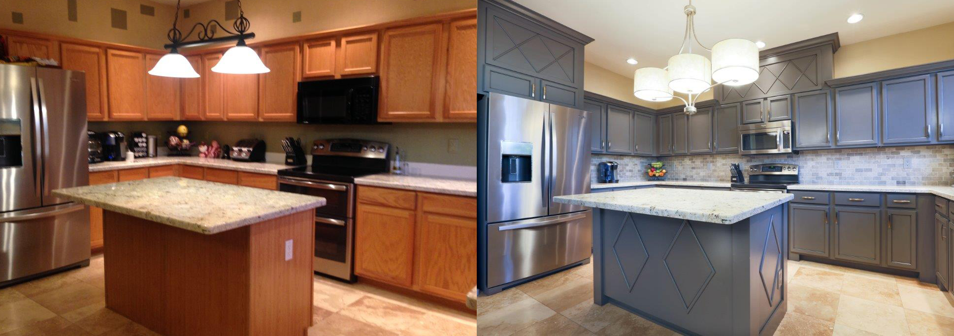 Cabinet refinishing phoenix az tempe arizona kitchens for Refinishing kitchen cabinets before and after